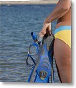Woman Getting Ready To Go Snorkeling Metal Print