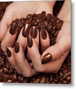 Woman Holding Coffee Beans In Her Hands Metal Print