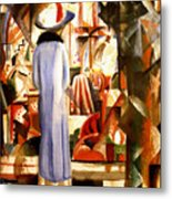 Woman In Front Of A Large Illuminated Window Metal Print