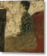 Woman Sitting By The Fireside Metal Print