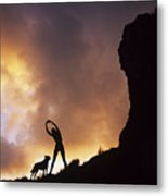 Woman Stretching On A Mountain Metal Print