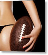 Woman With A Football Metal Print