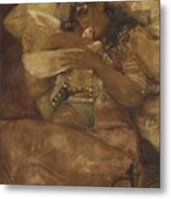 Woman With Dove Metal Print