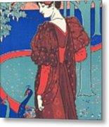 Woman With Peacocks Metal Print