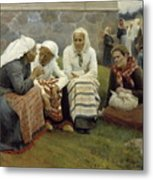 Women Outside The Church At Ruokolahti Metal Print