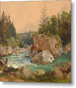 Wooded River Landscape In The Alps Metal Print