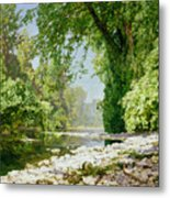 Wooded Riverscape Metal Print by Leopold Rolhaug