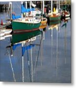 Wooden Ships On The Water Metal Print