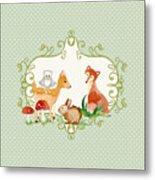 Woodland Fairytale - Animals Deer Owl Fox Bunny N Mushrooms Metal Print