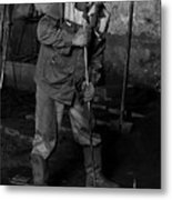Worker In The Foundry Metal Print