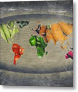 World Fruits Vegetables Map Metal Print