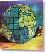 World Displayed Metal Print