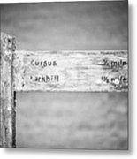 Worn Wooden Direction Sign For Cursus And Larkhill At Stonehenge Wiltshire England Uk Metal Print