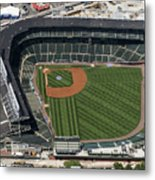 Wrigley Field In Chicago Aerial Photo Metal Print