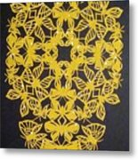 Yellow Butterfly-cross Metal Print
