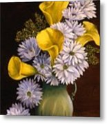 Yellow Calla Lilies In A Green Pitcher Metal Print