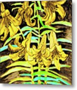 Yellow Lilies, Hand Drawn Painting Metal Print