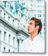 Young American Businessman Looking For Success. Metal Print