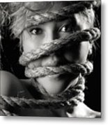 Young Expressive Woman Tied In Ropes Metal Print