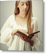 Young Girl Reading A Book Metal Print