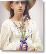 Young Girl With Lavender Metal Print