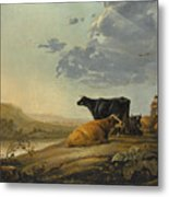 Young Herdsmen With Cows Metal Print