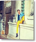 Young Man Relaxing On Street Metal Print