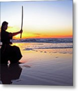 Young Samurai Women With Japanese Katana Sword At Sunset On The Beach Metal Print