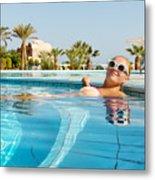 Young Woman Enjoying Warm Water In Pool Metal Print