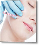 Young Woman Having Botox Face Injections. Metal Print