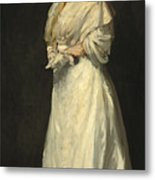 Young Woman In White Metal Print