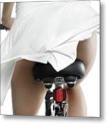 Young Woman On A Bicycle Metal Print