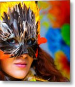 Young Woman With A Colorful Feather Carnival Face Mask On Bright Colorful Background Eye Contact Metal Print