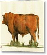 Zebu Cattle Art Painting Metal Print