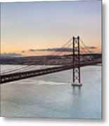 25th Of April Suspension Bridge In Lisbon Metal Print