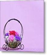 A Gift Of Preservrd Flower And Clay Flower Arrangement, Colorful Metal Print