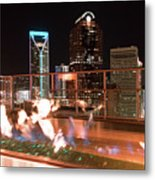 Charlotte North Carolina Skyline View At Night From Roof Top Res Metal Print