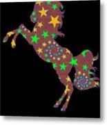 Rainbow Spiral Star Unicorn Design Poop Emoji Metal Print