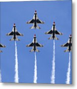 Us Air Force Thunderbirds Flying Preforming Precision Aerial Maneuvers Metal Print