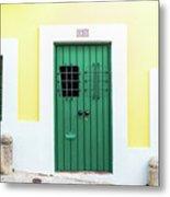 Wooden Door In Old San Juan, Puerto Rico Metal Print