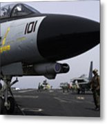 An F-14d Tomcat On The Flight Deck Metal Print