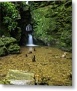 Beautiful Flowing Waterfall With Magical Fairytale Feel In Lush  Metal Print