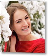 Beautiful Young Girl Model In Winter In A Parked Park. In A Red Sweater. Metal Print