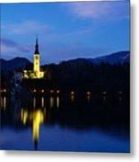 Dusk Over Lake Bled Metal Print