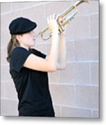 Female Trumpet Player. Metal Print