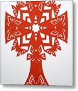 Red Butterfly-cross Metal Print