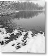 Snow Covered Landscapes In Belmont North Carolina Along Catawba  Metal Print