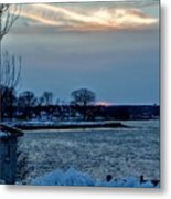 Sunset Over Obear Park In Snow Metal Print