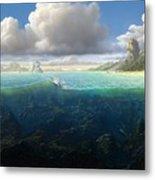 128098 Artwork Sea Fish Clouds Rock Formation Split View Metal Print