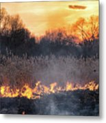 Fires Sunset Landscape Metal Print